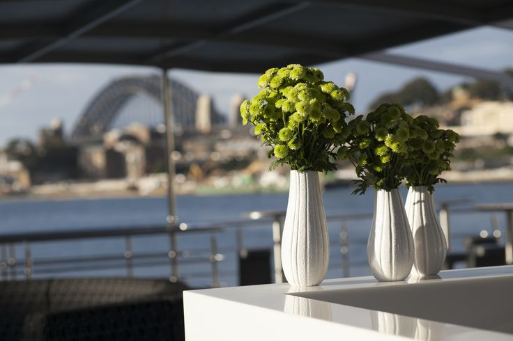 A simple floral arrangement on the Sky Deck of MV EPICURE I with the Sydney Harbour Bridge in the background.... what a fantastic settting for an event or wedding. Sometimes simple is best, particularly when the setting is so amazing!
