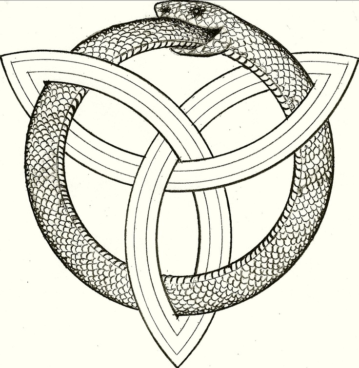 My personal logo - Orobouros entwined in a Triqueta - symbolizing eternal trinity forever. Drawn for me by my beloved uncle, Leandro Della-Piana.