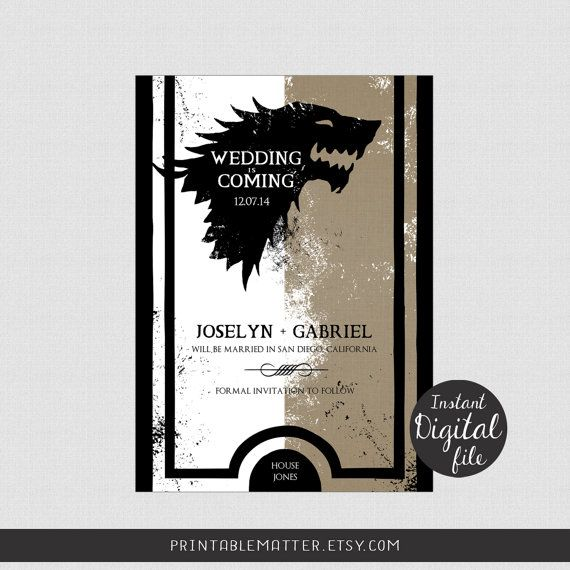 Wedding Save the Date - Design #1-9 - Game of Thrones ...
