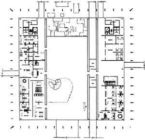 Planta do térreo do Itamaraty em que se percebe o controle dos espaços baseado na modulação 6x6m, com destaque para o Vestíbulo principal com seus 30m de vão e área de 1.620m2. Nota-se a simetria nos núcleos de circulação e serviços e nos acessos [caderno especial sobre Niemeyer na revista L'Architecture d'Aujord'Hui nº.171, 1974. s/p]
