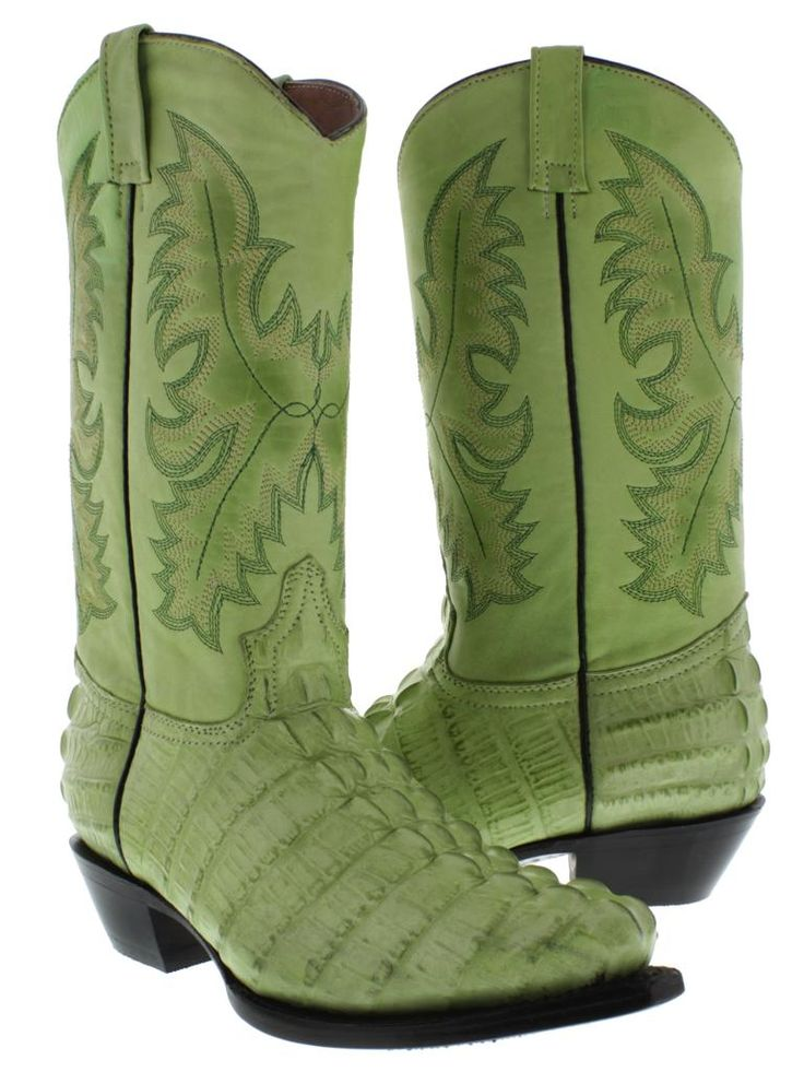 Alligator Cowboy Boots for Women | Women's Ladies Green Crocodile Alligator Tail Leather Cowboy Boots ...
