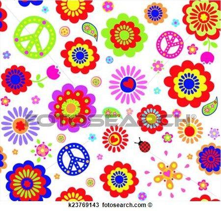 hippie, carta da parati, con, astratto, flusso Visualizza la Grafica Clip Art ingrandita