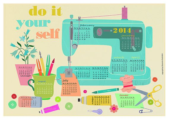 DIY illustrated printable calender 2014 with instant download