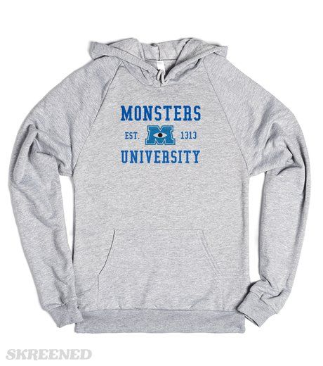 Monsters University Hoodie  Printed on Skreened Hoodie
