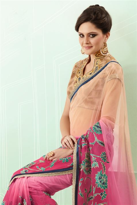 Make this Cream, Pink Net Saree yours @ FLAT 50% off. No coupon code required.