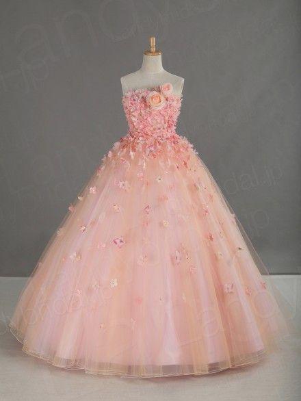 カラードレス プリンセスライン サーモンピンク コサージュ お花 フロアレングス チュール JWJF15002