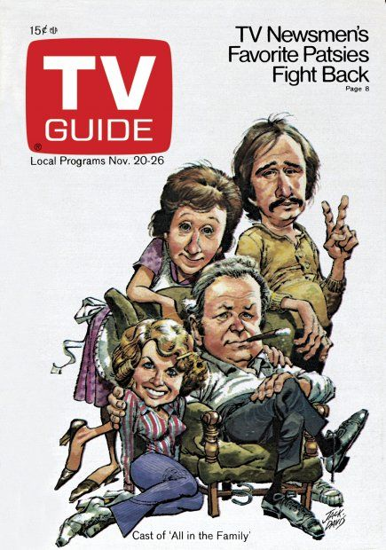TV Guide November 20, 1971 - Jean Stapleton, Rob Reiner,  Sally Struthers and Carroll O'Connor of All In The Family.  Illustration by Jack Davis