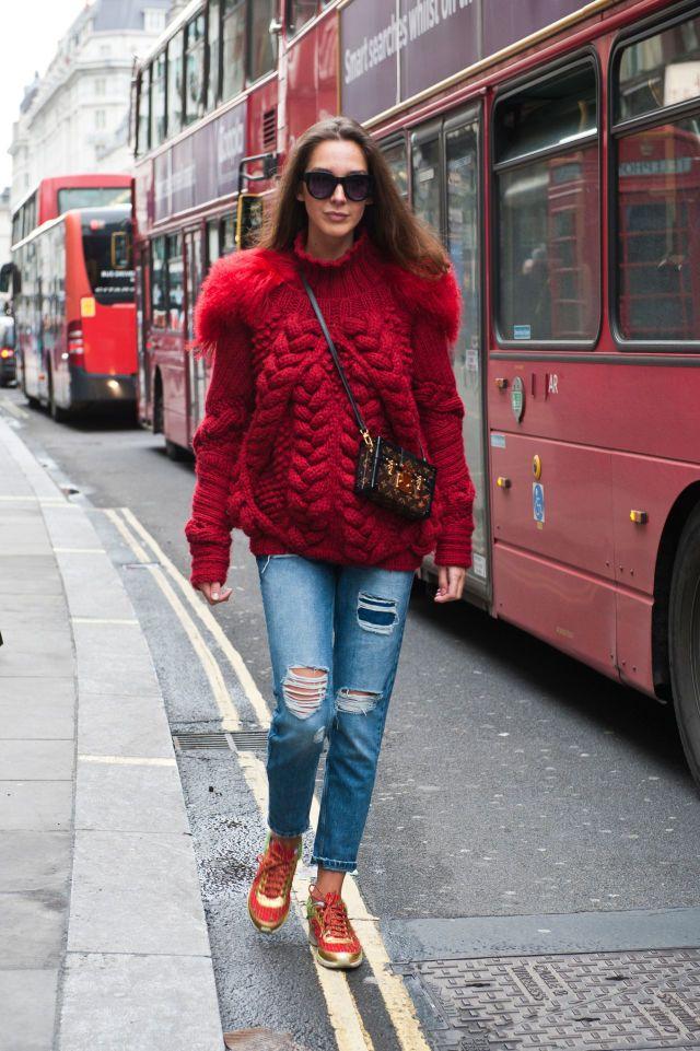 Giacca di maglia rossa
