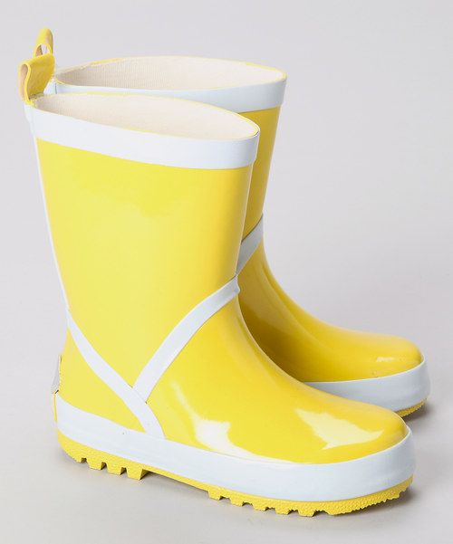 Yellow wellie boots