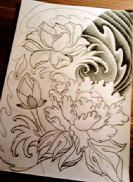 I really like this one, I'm thinking shoulder/back/upper sleeve  Google Image Result for http://www.deviantart.com/download/159987890/Lotus_and_peony_rose_by_JeroenICA.png
