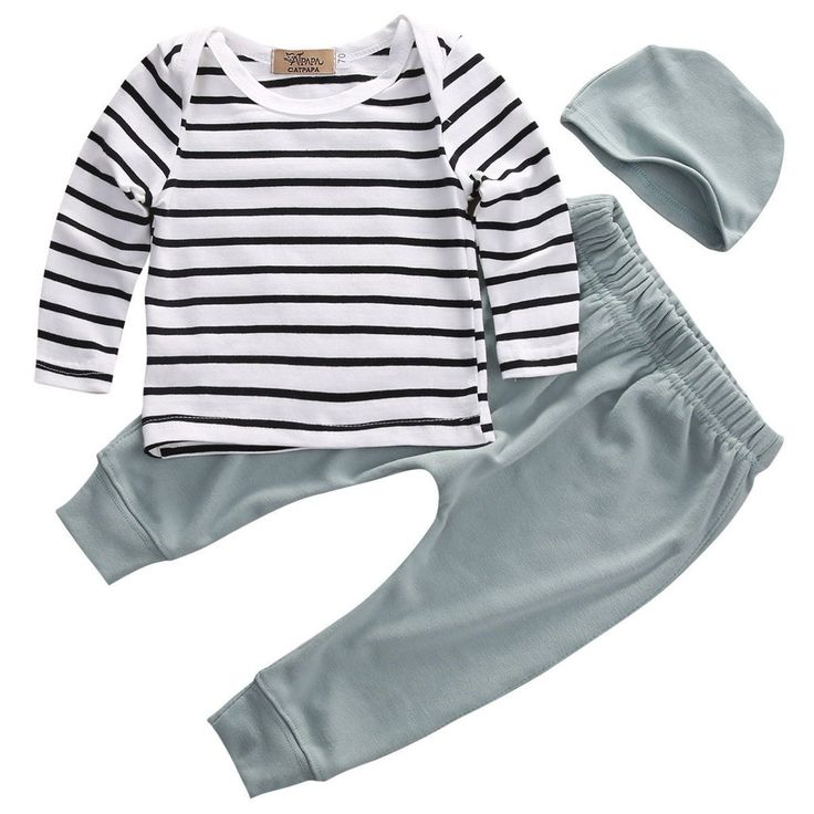 3 Piece Baby Gender Neutral Soft Green and Stripe Outfit, 3mo-18mo