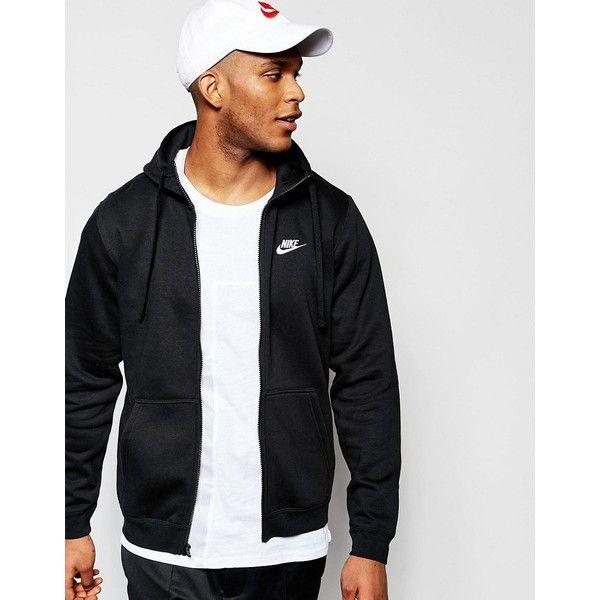 Nike Club Zip-up Hoodie In Black 804389-010 featuring polyvore men's fashion men's clothing men's hoodies black mens zipper hoodies mens tall hoodies mens zip up hoodies nike mens hoodies mens zip hoodies