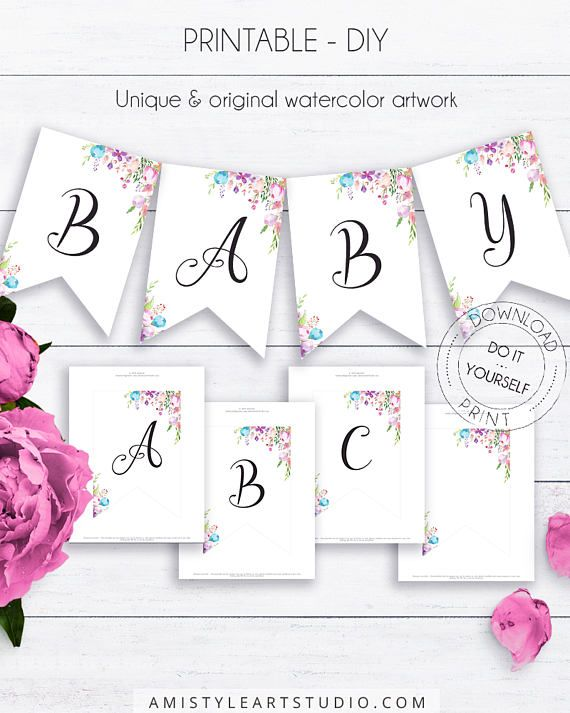 Baby Shower Floral Bunting, with beautiful and vivid watercolor floral graphics in boho and vintage style.This adorable baby shower bunting template listing is for an instant download PRINTABLE PDF so you can download it right away, print it at home or at your local copy shop by Amistyle Art Studio on Etsy