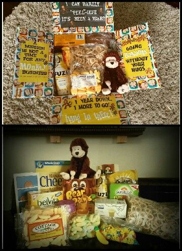 LDS missionary package: Hump Day, Hang In There.  Going Bananas Without You Here. Monkey and Banana themed.