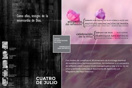 AICA: Encuentro de reflexión y misa en memoria de los palotinos asesinados en San Patricio