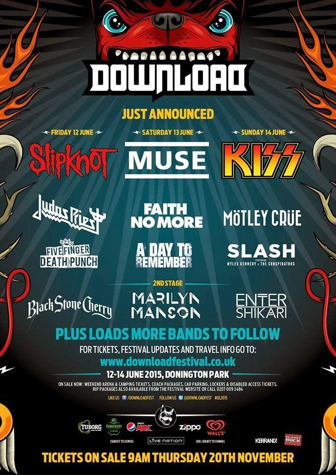 DOWNLOAD FESTIVAL 2015 - Kiss, Mötley Crüe, Slash e Enter Shikari il terzo…