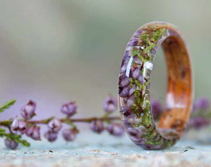 REAL FERN resin ring Birch bark ring Wood resin ring Nature resin ring Delicate ring Green ring Rustic ring Eco Friendly Forest Jewelry