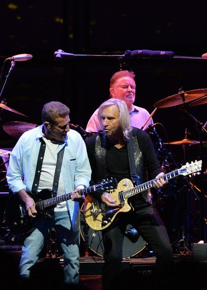 Glen Frey, Don Henley and Joe Walsh of the Eagles perform during 'History of the Eagles Live in Concert' at the Bridgestone Arena on October...