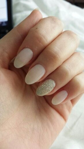 I had my infills for my acrylic nails done today. This time I went for nude with a gold glitter accent nail.