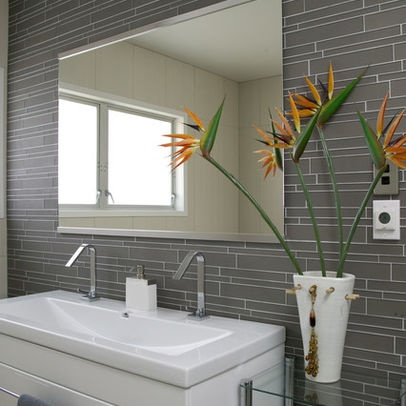Modern Bathroom Tile Glass Tile Bathroom Backsplash Gray - might make for a nice chair-rail height band around the bathroom