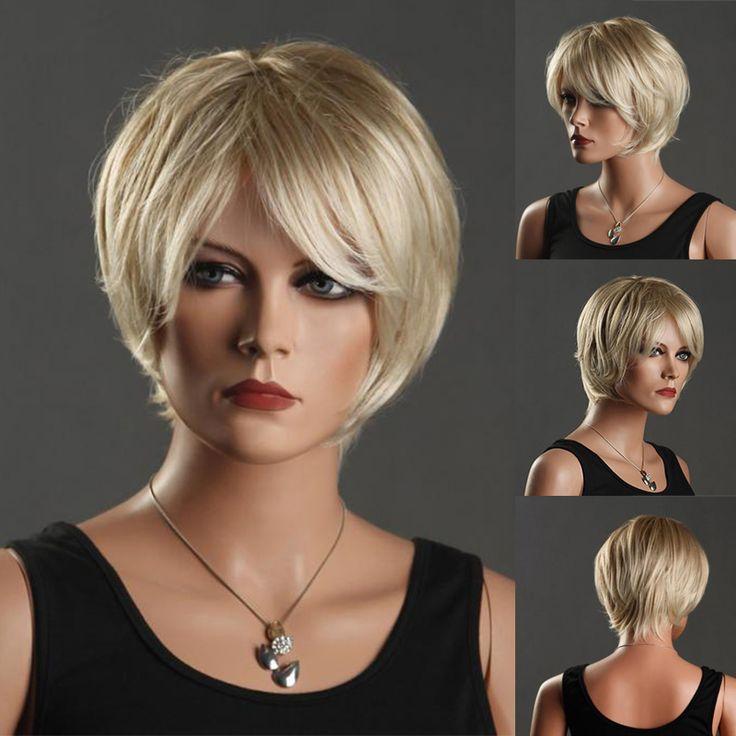 Sexy Africa America Women's Short Wigs Light Blonde Wig Oblique Bangs Short Synthetic Fiber Front Hair Wigs Peruca Peluca