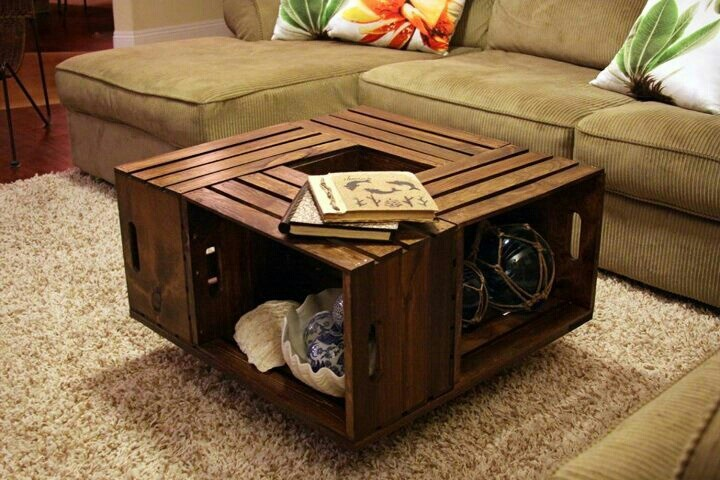 Wooden Crate Coffee Table Crafts Pinterest