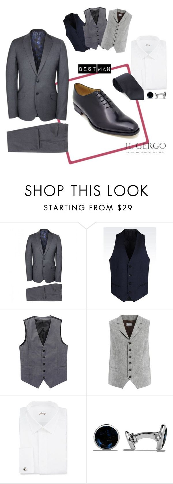 """Best man suit Il Gergo"" by paolo-rossi on Polyvore featuring Paul Smith, Armani Collezioni, Brunello Cucinelli, Brioni, David Yurman, men's fashion e menswear"