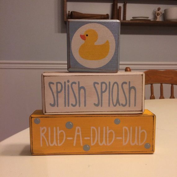 Distressed wood blocks bathroom set rubber duck by AppleJackDesign, $26.95
