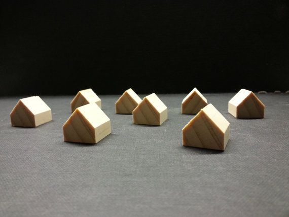 8 miniature wooden houses . pine wood houses . little by GTDesigns