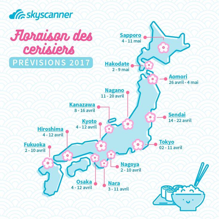 Quand partir au Japon pour assister à la floraison des cerisiers ?   Voir les sakuras en fleur et faire le hanami comme les japonais est l'un de vos rêve ? On vous aide à le réaliser ! Voici les prévisions de floraison des cerisiers et une sélection des villes du Japon où vous pouvez voir les délicates fleurs de cerisiers.