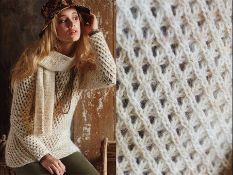 #13 Mesh Sweater and Ribbed Scarf, Vogue Knitting Fall 2014 - YouTube