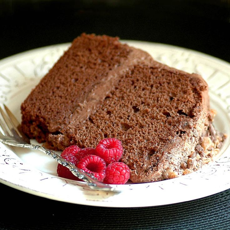 The recipe begins with a chocolate chiffon cake which is tall, moist and very light.