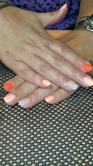 Orange ,  tropical tease and white glitter gel nails