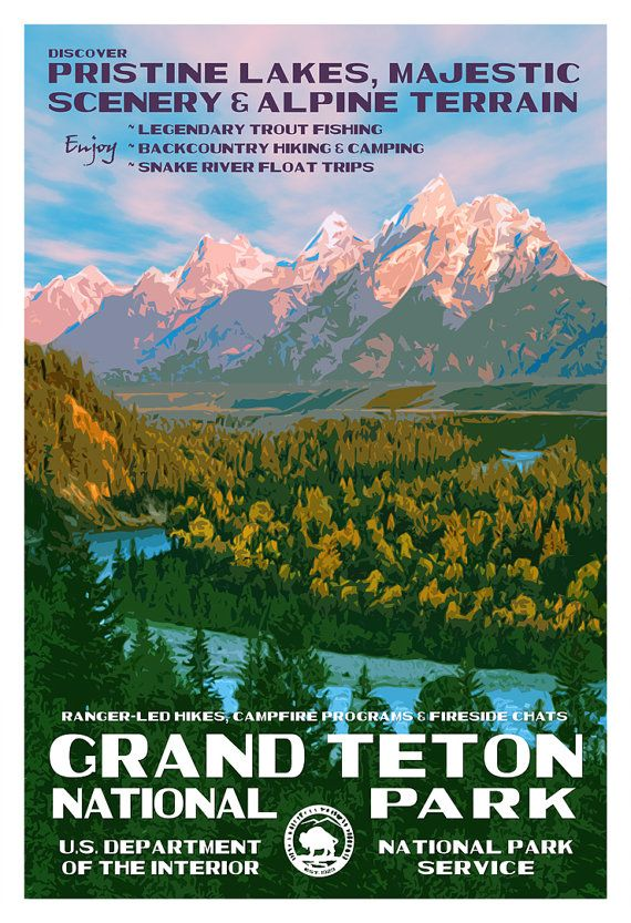 Grand Teton National Park Poster, WPA style 13″ x 19″ Signed by the artist. FREE SHIPPING!