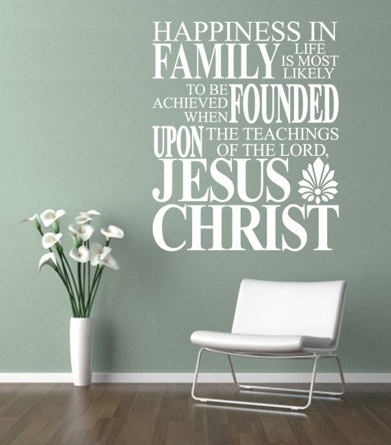 religious wall quote. happiness in family life - code 222 scripture
