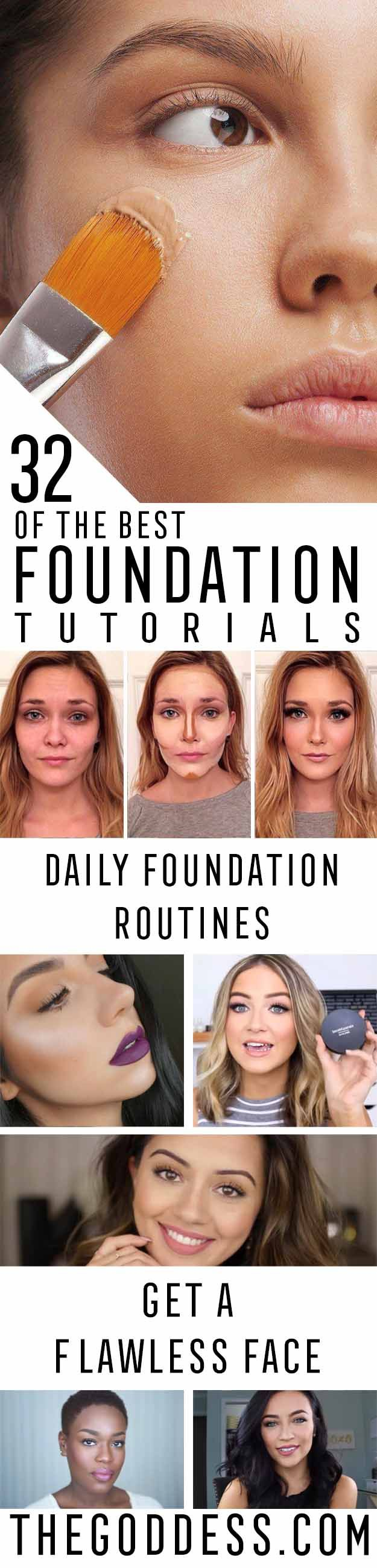Best Foundation Tutorials - Step By Step Guides For Flawless Natural Skin, Even For Acne and Oily Skin - Check out these Contour Tips and Tricks with Video Guides - All Sorts of Makeup Techniques that Work with Dark Skin or Pale Skin - thegoddess.com/best-foundation-tutorials