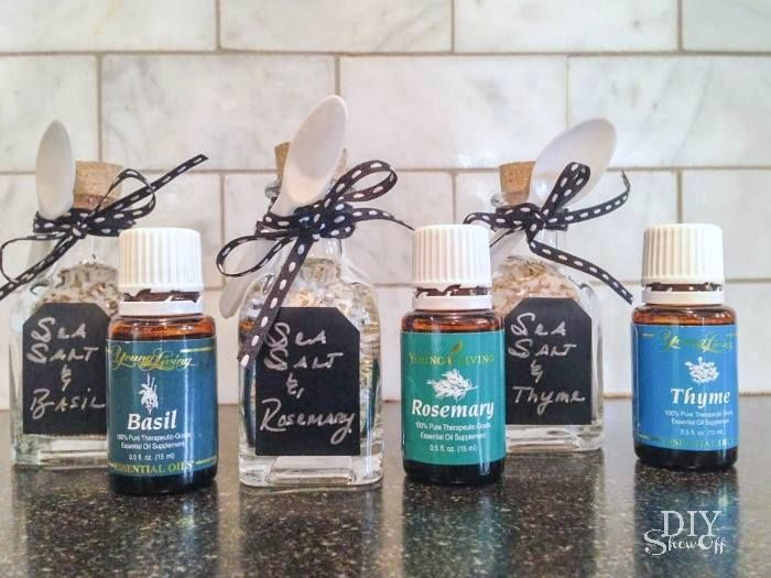 Flavoured Sea Salts What I used: Young Living oils (like Basil, Rosemary & Thyme) Organic spices or dried herbs (basil, rosemary & thyme) Organic sea salt glass bottles with cork lids (shown from Michael's in the bridal/party favor aisle) small spoons. #younglivingrecipes
