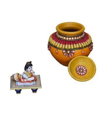 Set Of Kundan Matki And Laddu Gopal On Blue Marble Chowki By eCraftIndia Marble Crafts on Shimply.com