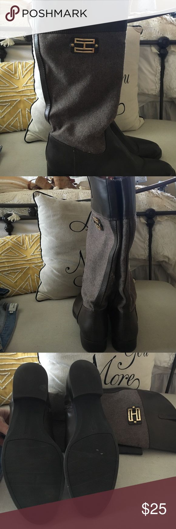 Tommy Hilfiger Boots Brown taupe with tweed fabric //  barely worn // Tommy Hilfiger Shoes Winter & Rain Boots