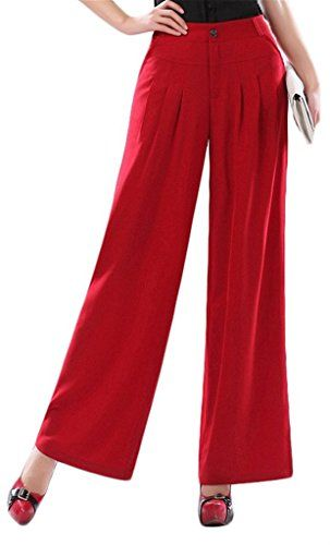 tailloday Damen Casual Büro Lady Baumwolle Capris breit Bein Culottess Hose Gr. 74 cm, Red 23