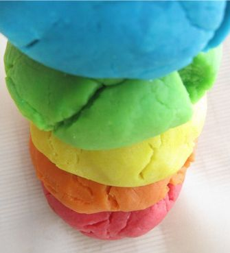 Homemade play dough - : 3cups four 1/3 cup salt 2tbsp oil (veg) 1cup water 7 drops food coloring. mix dry ingredients with oil. add food coloring to water and mix together. add water to flour/salt/oil mixture slowly~about 1/4 cup at a time and mix together with a spoon. once you've added all the water, knead the dough with your hands