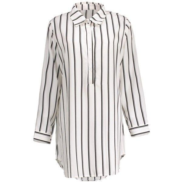 Plus Size Half Button Stripe Shirt Dress ($21) ❤ liked on Polyvore featuring dresses, shirt dress, striped t-shirt dresses, plus size shirt dress, white day dress and t-shirt dresses