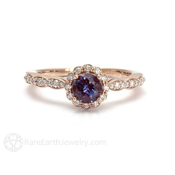 Alexandrite Ring Alexandrite Engagement Ring Diamond Halo June Birthstone 14K or 18K Gold Color Change Gemstone Ring