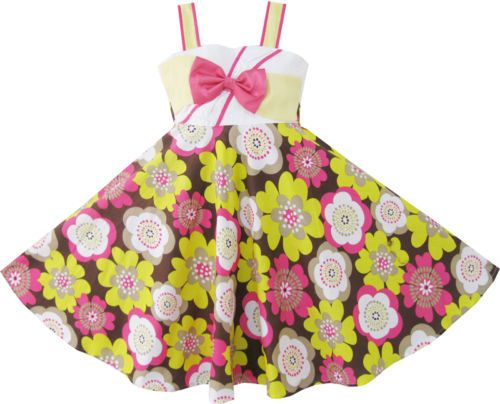 Girls Dress Yellow Pink Flower Party Sundress Child Clothes Size 4-10 NWT