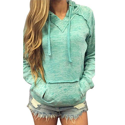 West See Damen Grün Hoodie Lässige Kapuze Mantel Tops Pullover Langarm Sweatshirt – Styling Tipps