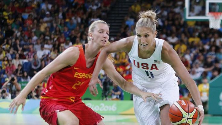 USA's Elena Delle Donne (R) and Spain's Laura Gil (L) during the Rio 2016 Olympic Games Women's Gold Medal game at the Carioca Arena 1 in the Olympic Park in Rio de (750×422)