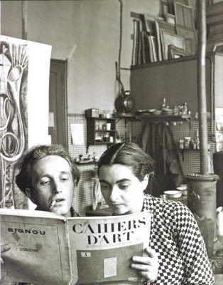 Arpad Szenes e Vieira da Silva (portuguese painter), atelier Boulevard Saint-Jacques, Paris, c. 1937