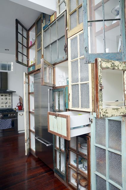 pantry commission 3/12 doors and drawers open by Matthew Holdren, via Flickr (oh my i have now found a use for all the old windows i have been collecting!!!!!!!)