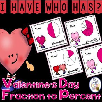I Have, Who Has? St. Valentine's Day Fractions to Percents Cards has an adorable Valentine's Day theme. Perfect for small group, after school tutoring or your emergency substitute folder. This resource includes Teacher Directions - EASY: 1 Teacher Answer Key and 12 Cards - HARD:  1 Teacher Answer Key and 12 Cards - The easy version has your students read the percentages directly off of the cards, while the hard version requires your students convert the fractions to percentages.