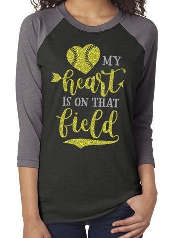 My Heart is on That Field Glittery Triblend Softball Raglan